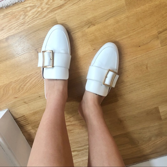 White leather mules flats with gold hardware